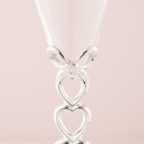 Silver Stacked Hearts Wedding Champagne Flutes