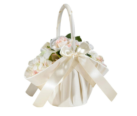 Large Ivory Satin Flower Girl Basket