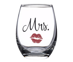 Mrs. Stemless Wine Glass with Red Lips