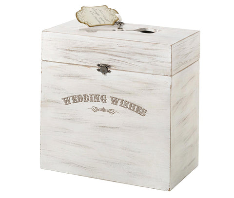 White Wood Wedding Wishes Key Card Box