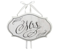 White Vintage Mrs. Sign