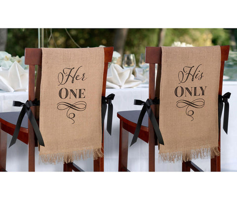 Her One His Only Rustic Burlap Chair Covers