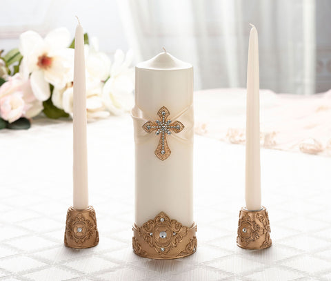 Gold Ivory Cross Unity Ceremony Candles