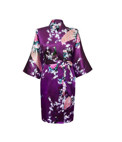 Floral Kimono Bridal Party Robe (Above the Knee Length)