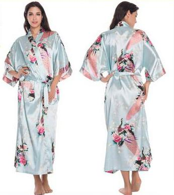 Floral Kimono Bridal Party Robe (Calf Length)