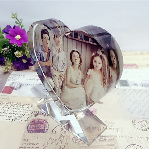 Heart Customized Crystal Photo Glass
