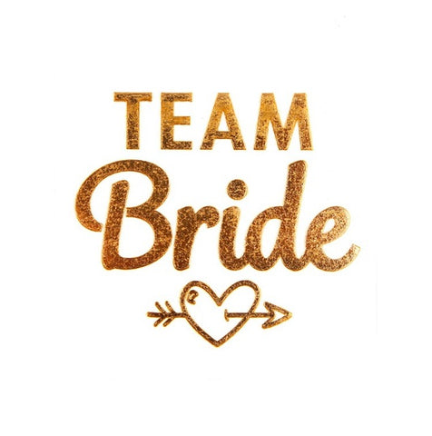 FENGRISE 1pc Team Bride Gold Temporary Tattoo Sticker Hen Party Bridal Shower Favors Letter Flash Tattoo Bridesmaid Wedding Gift
