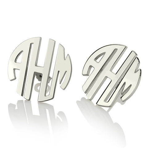 Block Monogram Stud Earrings
