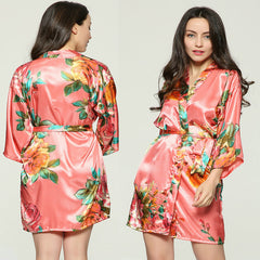 Floral Satin Bridal Party Robe
