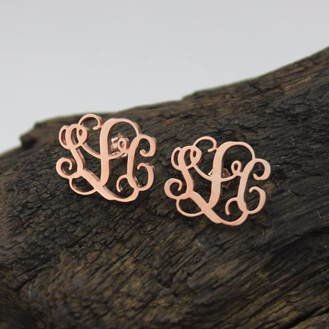 Script Monogram Stud Earrings