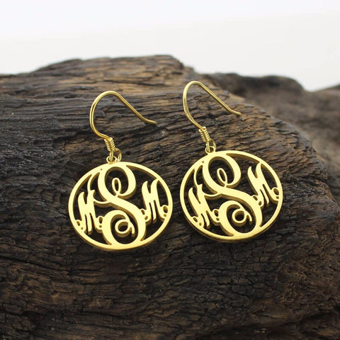 Script Monogram Drop Earrings