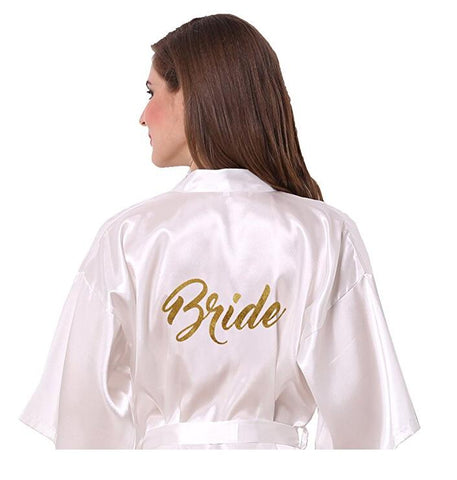 "Glitter ""Bride"" Satin Robe"
