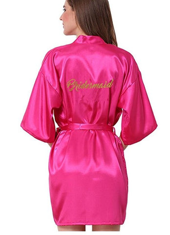 "Glitter ""Bridesmaid"" Satin Robe"