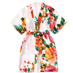 Floral Satin Bridal Party Robe for Flower Girl
