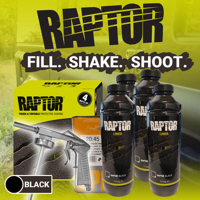 BLACK U-POL RAPTOR Bed Liner Tough Protective Coating 4L 2 Pack Kit + SPRAY GUN
