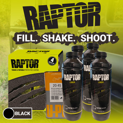 BLACK U-POL RAPTOR Bed Liner Tough Protective Coating 4L 2 Pack Kit Coating