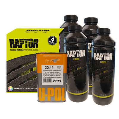 TINTABLE U-POL RAPTOR Bed Liner Tough Protective Coating 4L 2 Pak Kit +SPRAY GUN