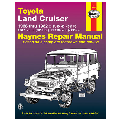 HAYNES Repair Manual 92055 Toyota Land Cruiser FJ40 FJ43 FJ45 FJ55 68-82 (USA)