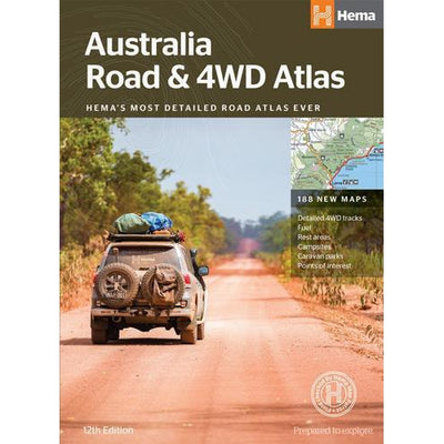 HEMA Australia Road & 4WD Atlas 12th Edition 188 Maps 4WD Tracks Campsites
