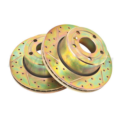 Front Disc Brake Rotors X Drilled Grooved Land Rover Discovery 2 SDB000380CDG