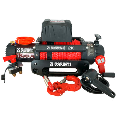 CARBON WINCHES 12V 12000lb Electric Winch with Synthetic Rope