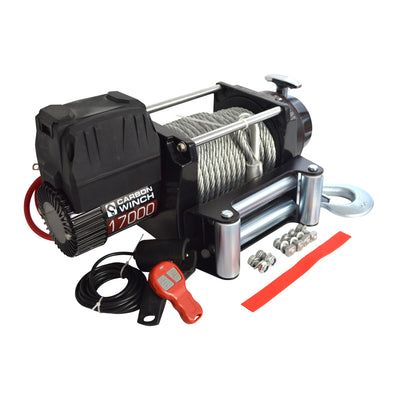 CARBON WINCHES 12V 17000lb Heavy Duty Series Winch with Steel Cable