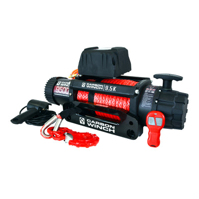 CARBON WINCHES 12V 9.5K 9500lb High Speed Electric Winch with Synthetic Rope
