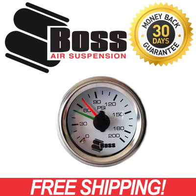 Boss Twin Needle Air Pressure Gauge for Air Suspension / Compressor / Tank / Workshop GAUGE-200PSI