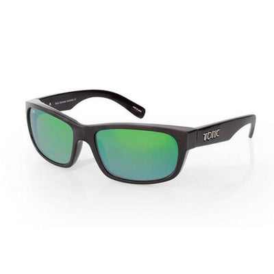 TONIC Shades Torquay Shiny Black Glass Mirror Green G2 SliceLens