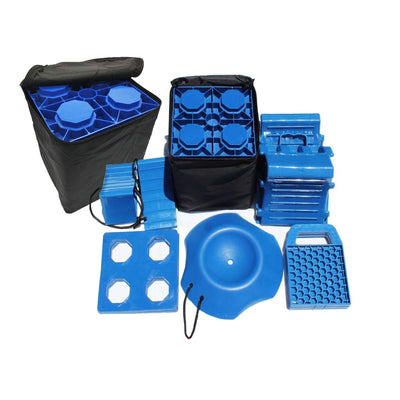 OziBlock N Chock EXPANDED ULTIMATE KIT Dual Axle Caravan Levelling Block and Chock Kit