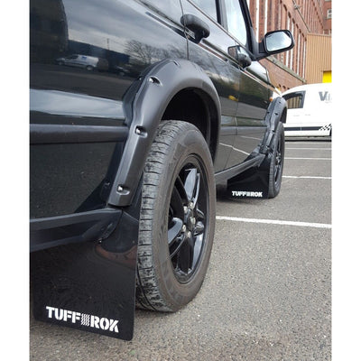 TUFF ROK Flare/Arch Extra Wide Mud Flap Set Black w/ White Logo