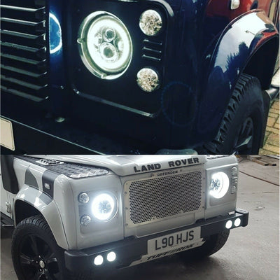 "TUFF ROK H4 LED Halo Headlights High/Low Beam 7"" Round (Pair) Jeep Patrol Defender"