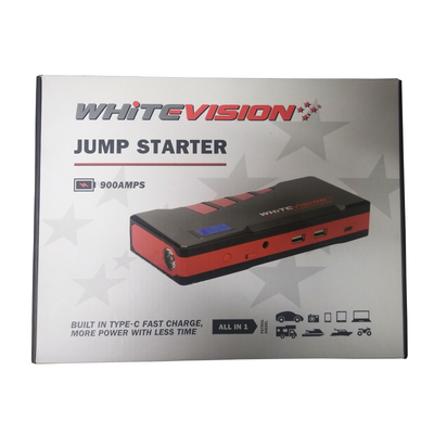 White Vision Jump Starter 12V 900AMPS All In One Camping Laptop Mobile Phone