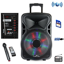 beFree Sound 12 Inch Woofer Portable Bluetooth Powered PA Tailgate Party