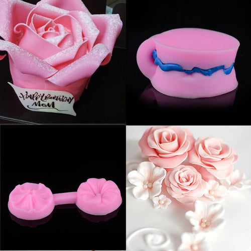 New Silicone 3D Rose Flower Fondant Cake Chocolate Sugarcraft Mould Mold Tools
