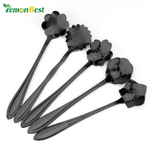LemonBest 1pc Stainless Steel Flower Coffee Spoon Dessertspoon