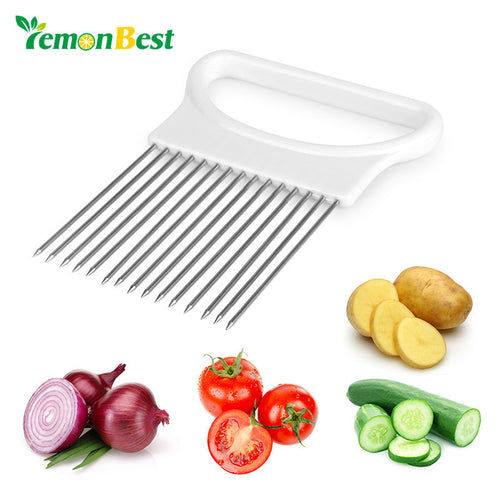LemonBest Onion Holder Fork Stainless Steel Onion Cutter Slicer Vegetable Tomato