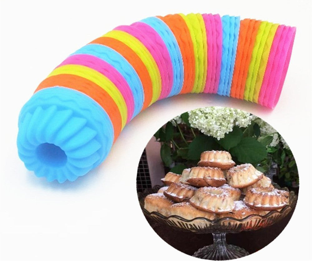 Fluted Cake Pan | 12-Pack Pumpkin Silicone Fancy Dessert Mold, Jello and Mini Cakes, 2.55 Inch Mini Bundt, Bonus 2 Small Round Cake Cups