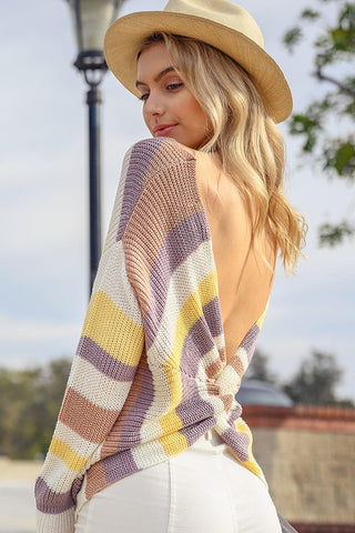 Let's Get Twisted Cable Knit Twisted Back Sweater