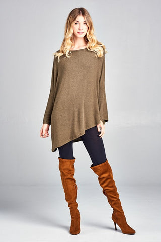 Two-Tone Olive Hacci Knit Tunic