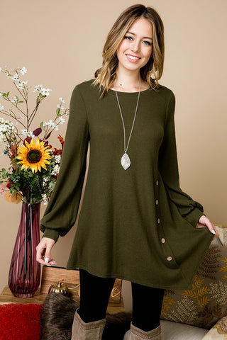 Olive Front Button Tunic Top