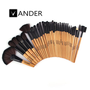Vander Professional 32Pcs Brown Makeup Brushes Kit Set w/ Pouch Bag