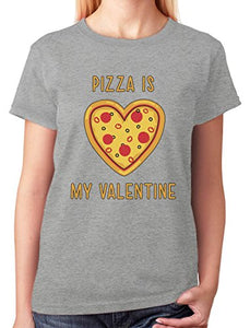 Cute! Pizza Is My Valentine Funny Valentine'S Day Crew Neck Shirts For Women