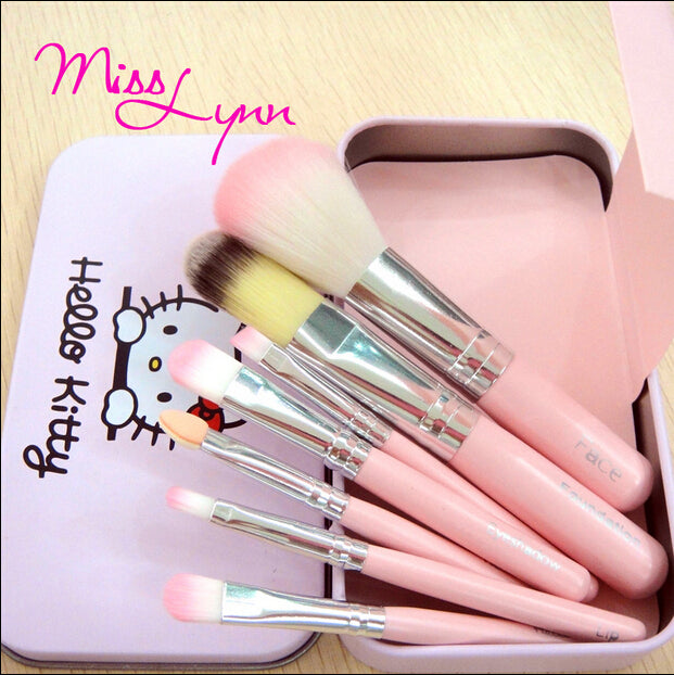 Sweet Girl Hello Kitty Pink Iron Case Makeup Brush Kit 7 PCS