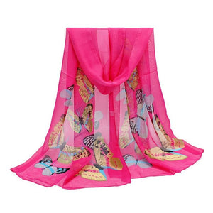 New Chiffon Butterfly Print Neck Scarf