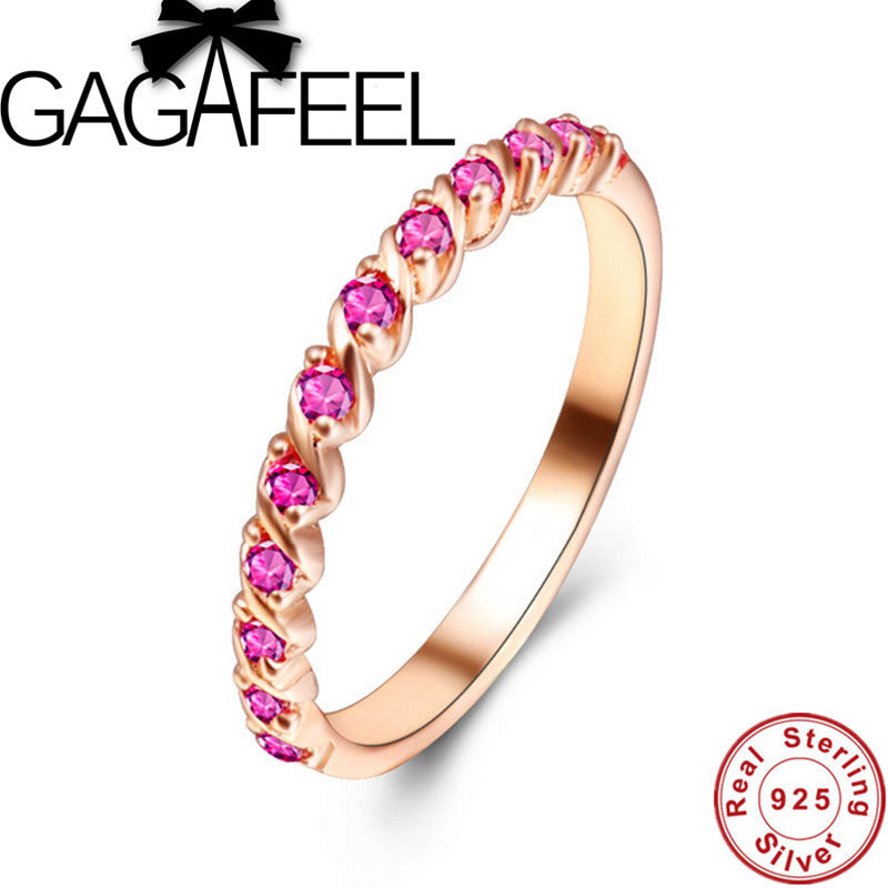 New Arrival Real Pure 925 Sterling Silver Ring &  Rose Gold Luxury Finger Ring