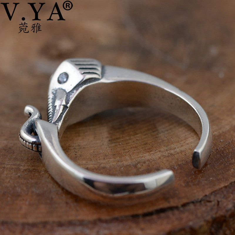 V.YA Vintage Style Elephant Rings For Women Pure 925 Sterling Silver