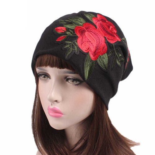 Floral Embroidery Beanie Caps/ Womens Cancer Chemo Hat