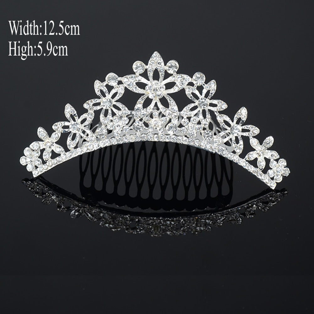 Sweet Tiara Crown Crystal Rhinestone Hair Comb Headband