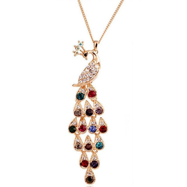Long crystal colored peacock sweater chain